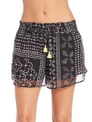 Lalesso Printed Silk Rundo Shorts Black White