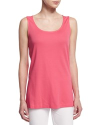 Joan Vass Global Scoop Neck A Line Tank Strawberry Petite