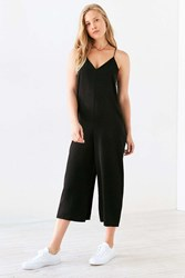 Silence And Noise Satin Slip Culotte Jumpsuit Black