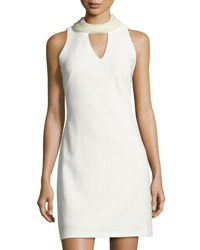 Taylor Pearly Trim Keyhole Sleeveless Dress Ivory
