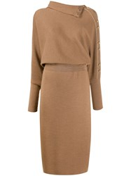 Escada Knitted Midi Dress Brown