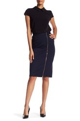 Catherine Malandrino Zipper Trim Midi Skirt Blue