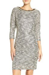 Chetta B Women's Embellished Neck Metallic Knit Sheath Dress