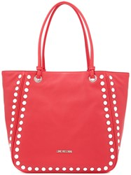 Love Moschino Silver Studded Tote Bag Women Polyurethane One Size Red