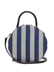 Mansur Gavriel Circle Cotton Canvas Cross Body Bag Blue Stripe