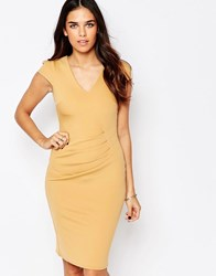 Jessica Wright Aliz Pencil Dress With Ruched Front Nude Beige