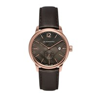 Burberry 40Mm Rose Golden Stainless Steel And Leather City Watch Pink