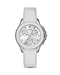 Michele Cape Topaz Studded Chronograph Watch 34Mm White