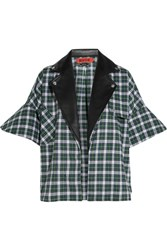 Ronald Van Der Kemp Leather Trimmed Plaid Brushed Cotton Shirt Green