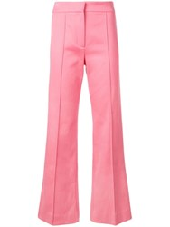 Derek Lam Cropped Flare Cotton Twill Jean Trouser With Pintuck Details Pink