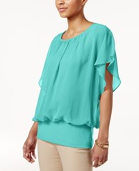 Jm Collection Flutter Sleeve Top Only At Macy's Pacific Aqua