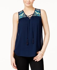 Amy Byer Bcx Juniors' Sleeveless Embroidered Tie Front Blouse Navy