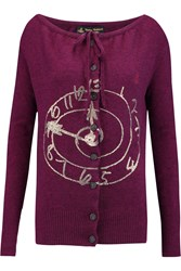 Vivienne Westwood Oasis Metallic Printed Wool Blend Cardigan Purple