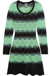 M Missoni Striped Crochet Knit Cotton Blend Dress Bright Green