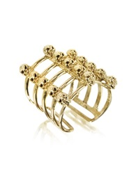 Bernard Delettrez Cage And Skulls Bronze Ring Gold