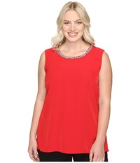 Calvin Klein Plus Size Embellished Shell Blouse Rouge Women's Sleeveless Red