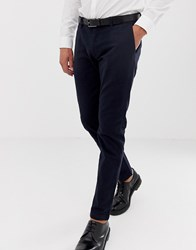 Esprit Slim Fit Smart Trousers In Navy
