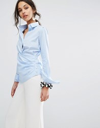 Sportmax Code Stripe Shirt With Wrap Front Light Blue
