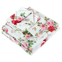 Cath Kidston Antique Rose Bouquet Towel White Bath Sheet