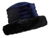 Dents Ladies Velvet Hat Navy