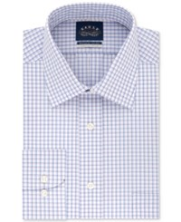 Eagle Men's Classic Regular Fit Stretch Collar Non Iron Red And Blue Check Dress Shirt Cardinal