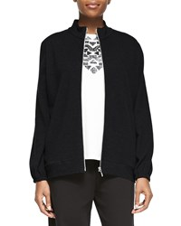 Joan Vass Mock Neck Zip Front Jacket Petite Black