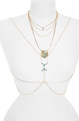 Danielle Nicole Women's 'Temple' Reconstituted Turquoise Body Chain Antique Gold Turquoise