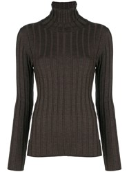 Aspesi Ribbed Turtleneck Sweater Brown