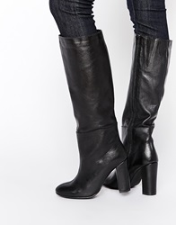 Warehouse Knee High Heeled Boots Black