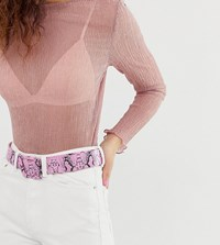 Glamorous Pink Snakeskin Belt With Covered Buckle