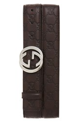 Gucci Men's Logo Embossed Calfskin Leather Belt Rose