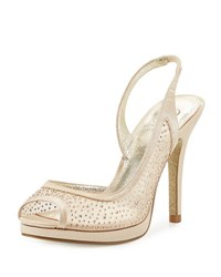 Adrianna Papell Georgi Satin Beaded Mesh Pump Neutral Pattern