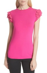 Ted Baker London Floral Applique Sleeve Tee Bright Pink
