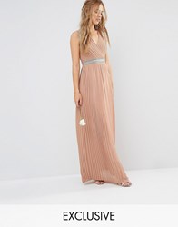 Tfnc Wedding Pleated Embellished Maxi Dress Taupe Brown
