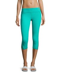 Trina Turk Recreation Strapped Cuff Solid Performance Leggings Teal