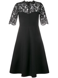 Valentino Corded Lace And Crepe Dress Black
