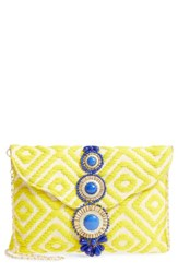 Steve Madden Steven By Beaded And Embroidered Clutch Yellow Citron