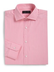 Ralph Lauren Black Label Classic Fit Striped Dress Shirt Pink