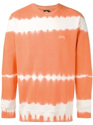 Stussy Blurry Stripes Sweatshirt Men Cotton L Yellow Orange