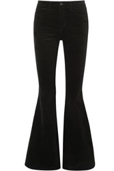 L'agence Solana Flared Cotton Blend Velvet Pants Black