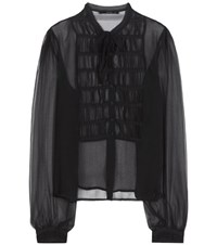 Etro Ruched Silk Blouse Black