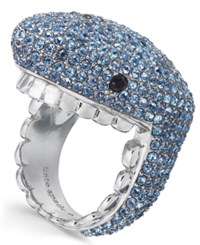 Kate Spade New York Silver Tone Pave Shark Ring Blue Multi