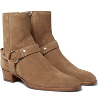 Saint Laurent Wyatt Suede Harness Boots Tan