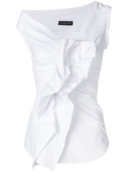 Plein Sud Jeans Ruffled Fitted Top White