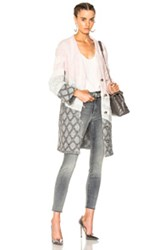 Prabal Gurung Curved Sleeve Cable Cardigan In Gray Pink Gray Pink