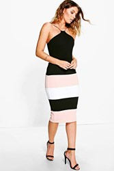 Boohoo Colour Block Bodycon Midi Skirt Multi