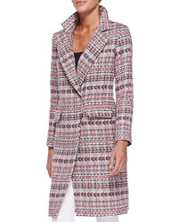 Milly Cleo Long Tweed Coat Multi