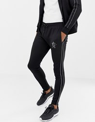 Gym King Skinny Joggers In Black With Side Stripes