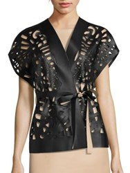 Josie Natori Short Cut Out Faux Leather Vest Black