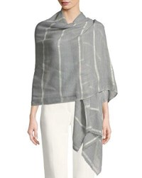 Bindya Wool Silk Striped Stole Delicacy W Sequins Light Gray
